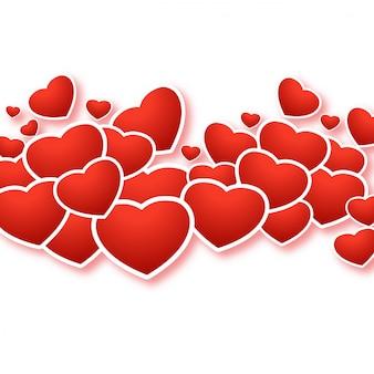 Felice giorno di san valentino auguri con cuori decorativi design