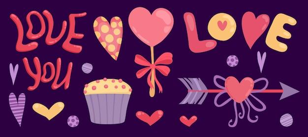 Felice giorno di san valentino banner con amore ti scritte, freccia e cupcake