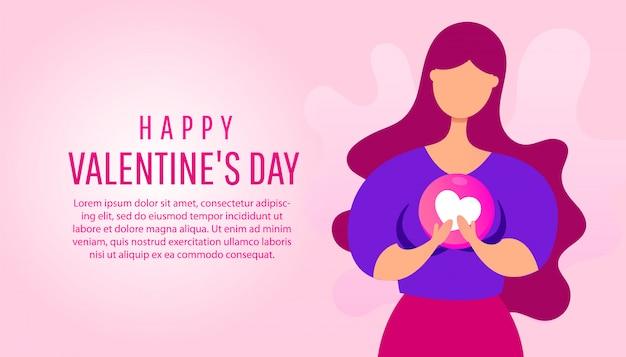 Felice giorno di san valentino banner con una giovane donna che tiene una forma di cuore nelle sue mani