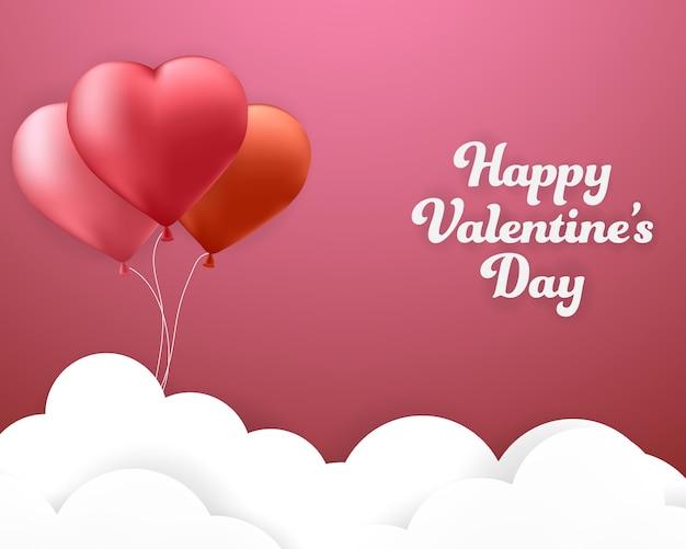 Felice giorno di san valentino banner sfondo rosa