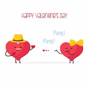Felice giorno di san valentino, carino coppia dolce cuore