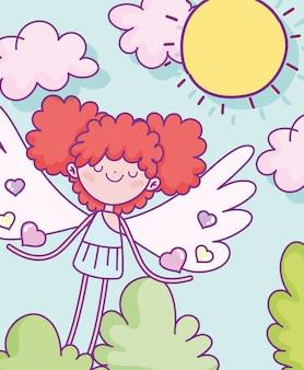 Felice giorno di san valentino, carino cupido con cuori dai capelli amati cespuglio sole nuvole