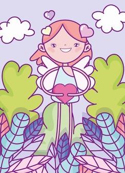 Felice giorno di san valentino, carino cupido con foglie di fogliame del cuore cespuglio natura