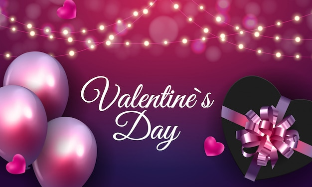 Felice giorno di san valentino carta con il cuore
