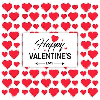 Felice giorno di san valentino carta con motivo a cuori