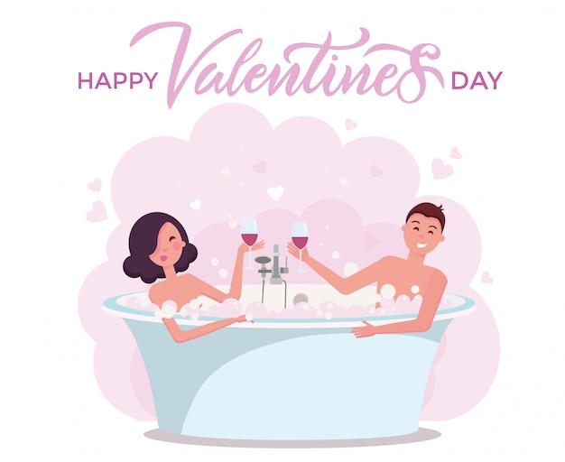 Felice giorno di san valentino carta con scritte.