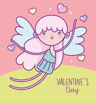Felice giorno di san valentino, carta di amore cuori carino cupido