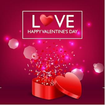 Felice giorno di san valentino carta e regalo cuore aperto