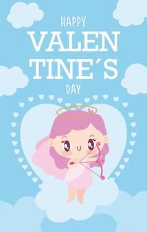 Felice giorno di san valentino cartoon cupido