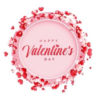 Felice giorno di San Valentino cornice con sfondo di cuori