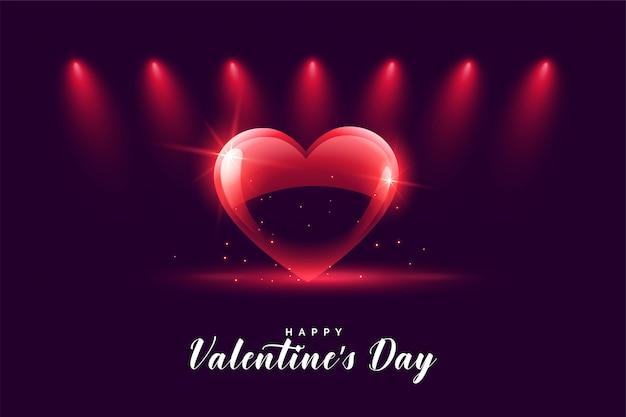 Felice giorno di san valentino cuore con luci di messa a fuoco