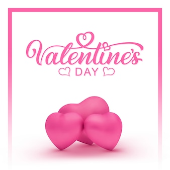 Felice giorno di san valentino disegnati a mano scritte su bianco con tre cuori rosa. san valentino scritto a mano, testo calligrafia.