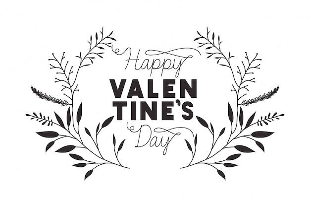 Felice giorno di san valentino etichetta con icone corona di fiori