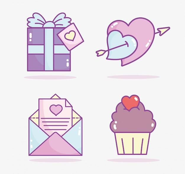 Felice giorno di san valentino, freccia di cuori del messaggio di posta del bigné del contenitore di regalo