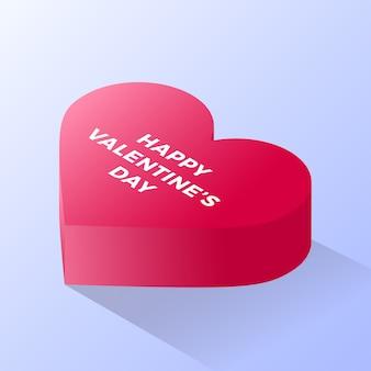 Felice giorno di san valentino icona del cuore rosso amore. isometrica dell'icona rossa di vettore del cuore di amore