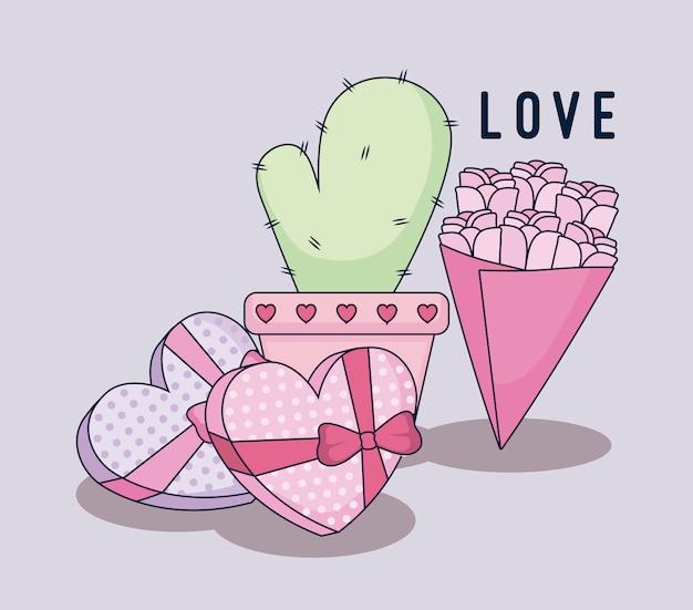 Felice giorno di san valentino impostare regali