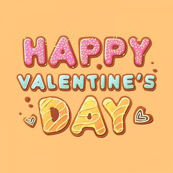 Felice giorno di san valentino lettering coockies