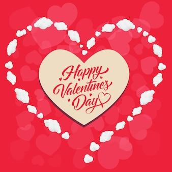 Felice giorno di san valentino lettering in cornice a forma di cuore