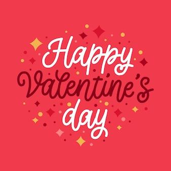 Felice giorno di san valentino lettering tema