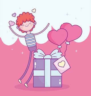 Felice giorno di san valentino, ragazzo con confezione regalo e palloncini a forma di cuore amore romantico illustrazione vettoriale