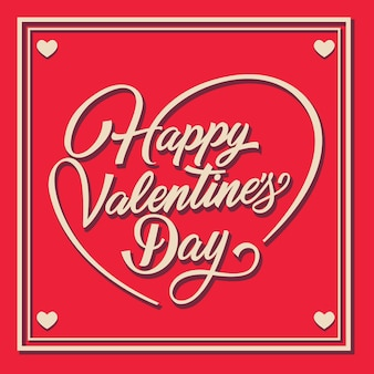 Felice giorno di san valentino scritte in cornice con volute