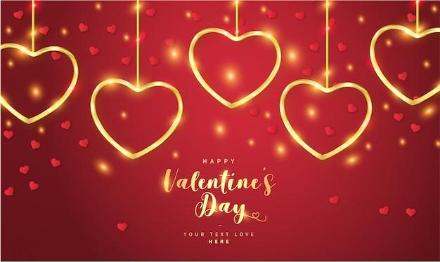 Felice giorno di san valentino sfondo con cuori d'oro