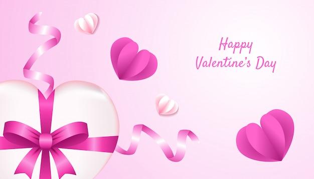 Felice giorno di san valentino sfondo con forma di cuore 3d