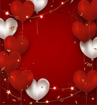 Felice giorno di san valentino sfondo con palloncini rossi, bianchi, luci e confettipromotions.vector.