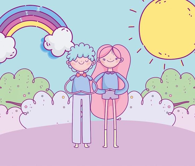 Felice giorno di san valentino, sorridente coppia erba arcobaleno nuvole di sole