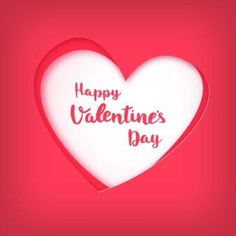 Felice giorno di san valentino su cuore rosso in stile taglio carta.