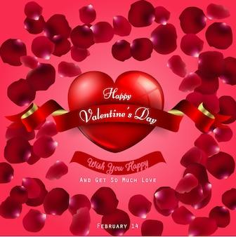 Felice giorno di san valentino su sfondo rosso