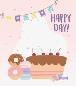 Felice giorno, illustrazione di amaretti e caramelle di ciambelle torta dolce