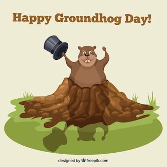 Felice giorno illustrazione marmotta