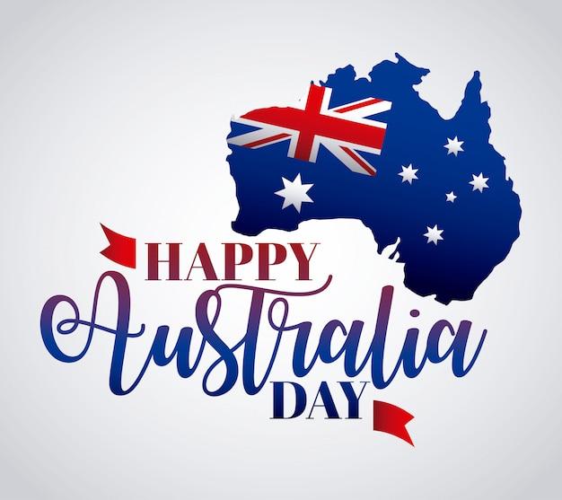Felice giorno in australia con bandiera sulla mappa