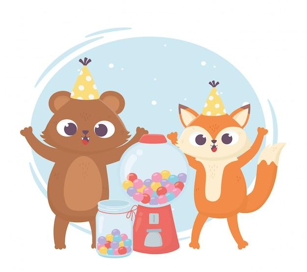 Felice giorno, orsetto e volpe con cappello e caramelle dolci illustrazione