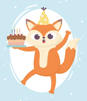 Felice giorno, piccola volpe con cappello e dolce illustrazione della torta