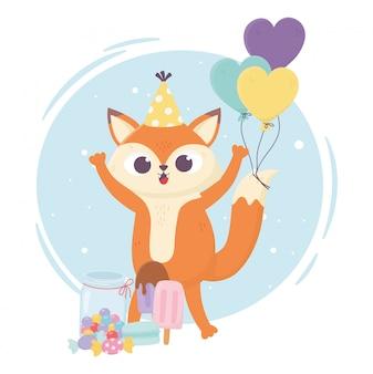 Felice giorno, piccola volpe con palloncini gelato al caramello in stick illustrazione