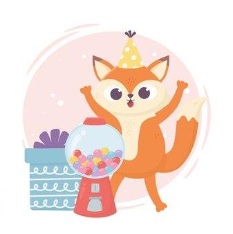 Felice giorno, piccola volpe con scatola regalo e illustrazione di caramelle