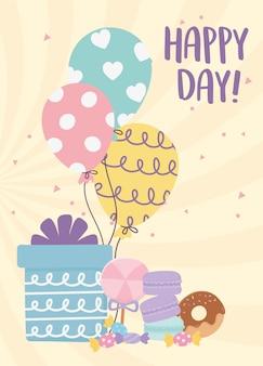 Felice giorno, regalo palloncini ciambella caramello biscotti fumetto illustrazione