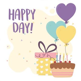 Felice giorno, torta con candele regalo e palloncini a forma di cuori illustrazione