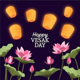 Felice giorno vesak con fiori e lanterne