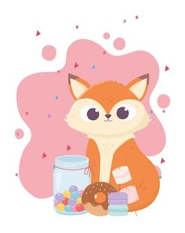 Felice giorno, volpe carina con la ciambella caramelle e illustrazione di biscotti
