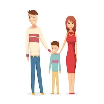 Felice giovane famiglia. papà, mamma e figlio insieme.