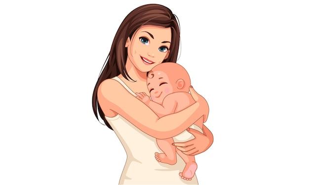 Felice giovane madre con il suo piccolo bambino addormentato carino