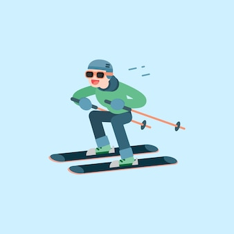 Felice giovane sci