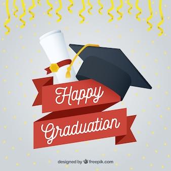 Felice graduazione sfondo con tappo e diploma