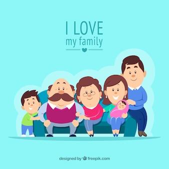 Felice grande famiglia sullo sfondo