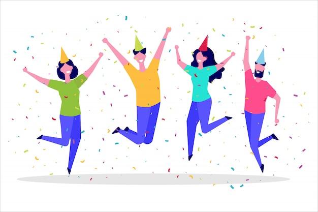 Felice gruppo di persone che salta. stile di vita sano, amicizia, successo, celebrando il concetto di vittoria. illustrazione