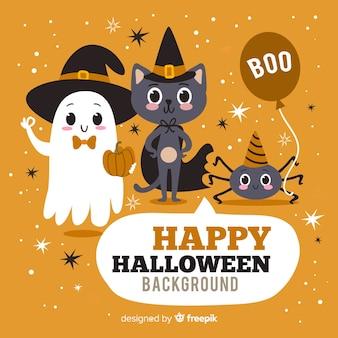 Felice halloween background con simpatici personaggi dei cartoni animati