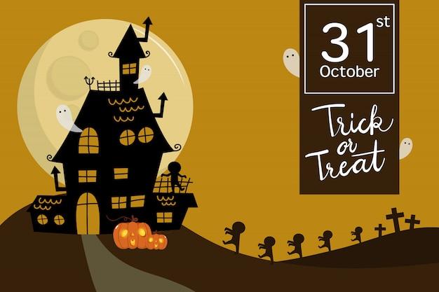 Felice halloween con casa stregata, zombie e fantasma spaventoso.